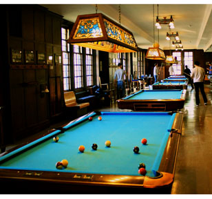 Students with pool tables