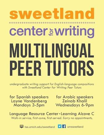 Multilingual Peer Tutors flyer