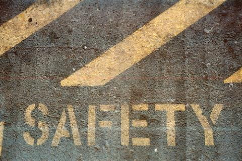 Safety written on the pavement