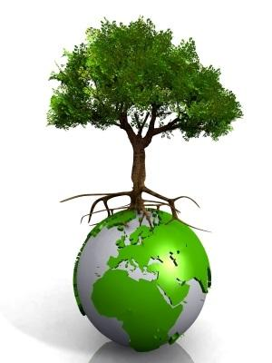 A green Earth with a tree growing on top
