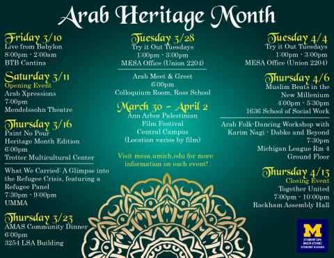 Calendar of Events for Arab Heritage Month - full list on https://mesa.umich.edu