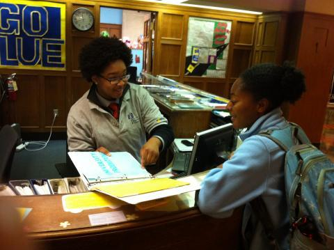 Image of CIC Staff Member Assisting Student