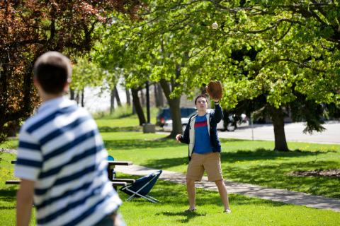 Image of Students Playing Baseball on Diag