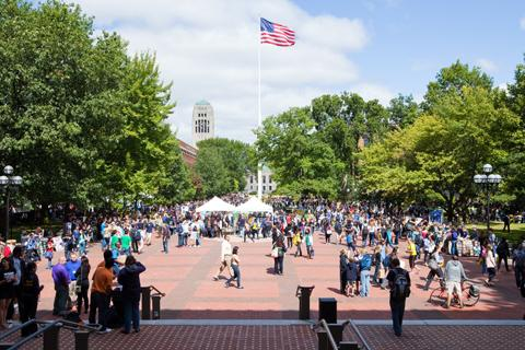Crowd on the Central Campus Diag