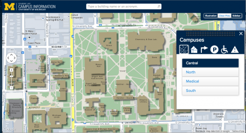 Screen shot of U-M interactive campus map