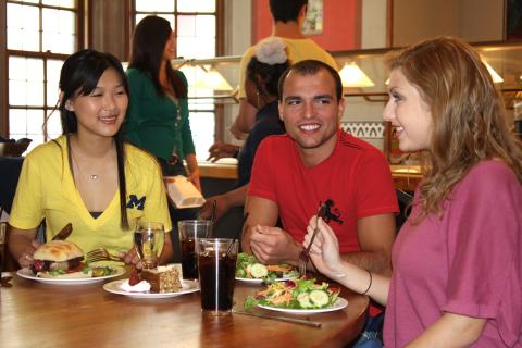 students dining at U-Club