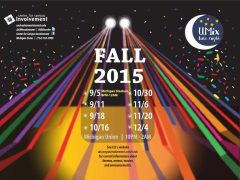 UMix Fall 2015 Dates: September 5, 11, 18, Oct 16 and more
