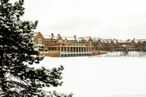 Central campus covered in snow