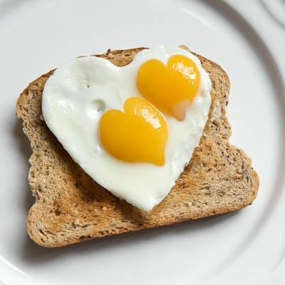 Heart shaped egg on toast