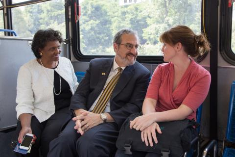 President Schlissel and Royster on the bus