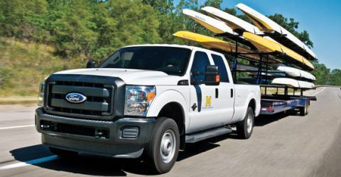 Photo of a Ford Truck hauling U-M Rowing Team's Equipment