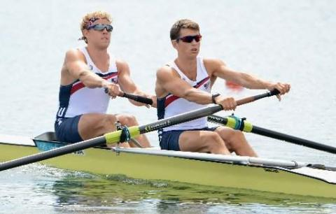 Thomas Peszek and Silas Stafford compete in the men's pair heats in the London Olympics at Eton Dorney today in Windsor, England.  Harry How/Getty Images (Detroit Free Press)