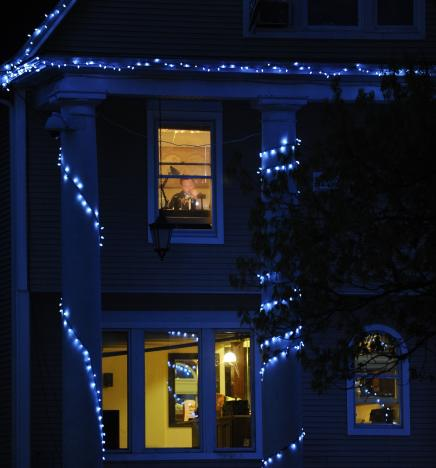 Image of Student Studying in Off Campus House at Night