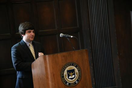 Image of Student Speaking at UM Podium