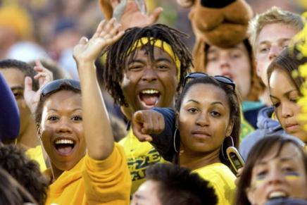Image of Students Cheering at Michigan Football