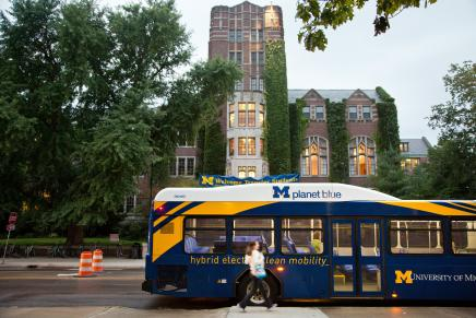 Blue bus in front of Union