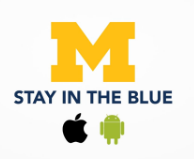 A logo for Stay in the Blue, an app managed by UHS