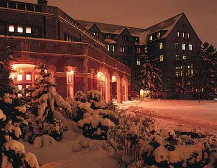 Winter night on campus