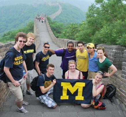 Image of Students with Michigan Flag on Great Wall of China