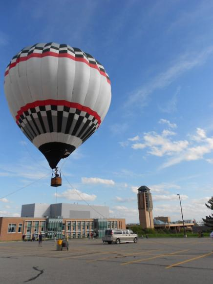 Hot air balloon takes off over North Campus