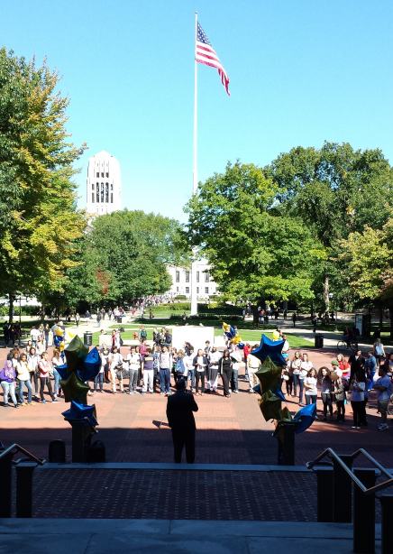 students gathered on the Diag