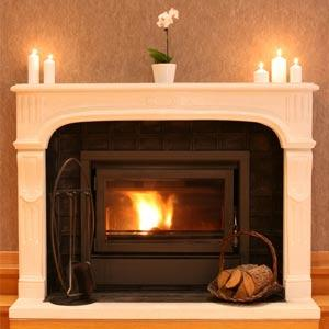 fireplace with white mantel insert