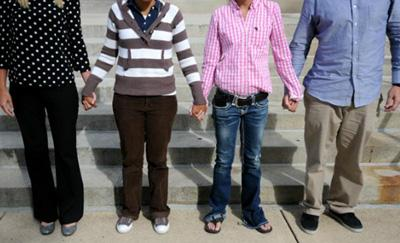 students hand in hand