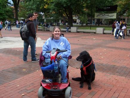 Seeing eye dog with student