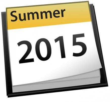 Image of a calendar page for Summer 2015
