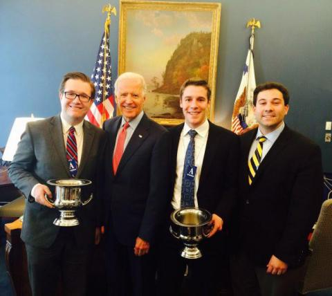Vice President Joe Biden with Debate Director Aaron Kall and Debate students Ellis Allen and Alex Pappas.