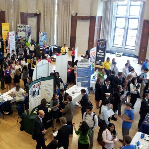 students attending a career fair