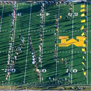 Marching band in football stadium