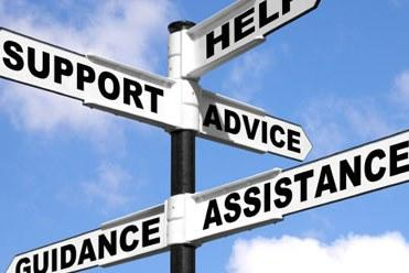 sign post with help, support, advice, guidance, assistance