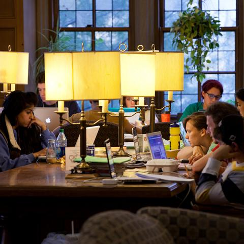 Students study in a study lounge