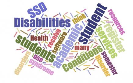 Word Cloud listing invisible disabilities  - Chrohn's, depression, anxiety, etc.