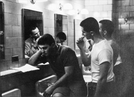 In the men's room in 1963: Brush, shave and study.