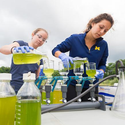 Students run experiments outdoors.