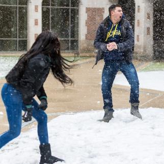 Snowball fight at University of Michigan