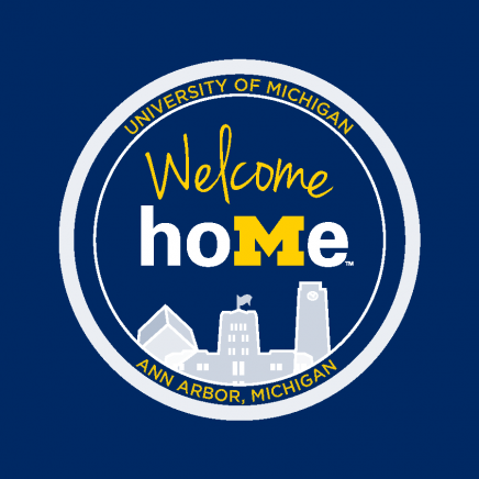 """Blue circular logo with text """"Welcome Home"""""""